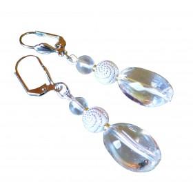Boucles d'oreilles cristal de roche lumineux