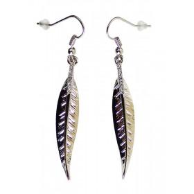 Boucles d'oreilles fines et légères, plumes argentées