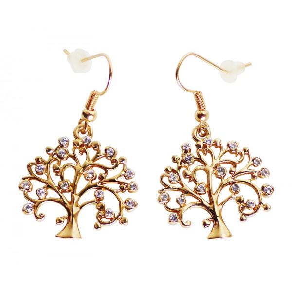 Boucles d'oreilles arbre de vie doré