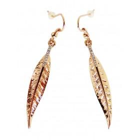 Boucles d'oreilles fines plumes dorées