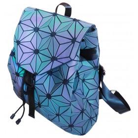 Sac à dos motifs origami fleurs couleurs irisées.