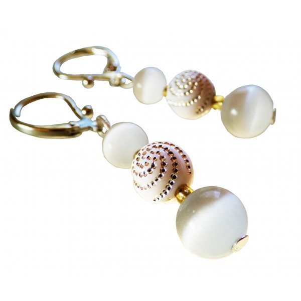 Boucles d'oreilles White Cat, oeil de chat blanc
