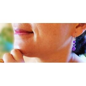 Boucles d'oreilles légères mauve améthyste