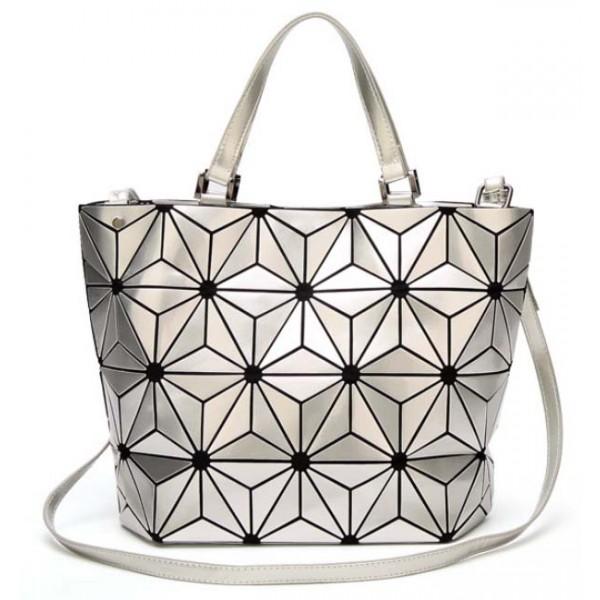 Sac à main shopping silver argent fleurs origami