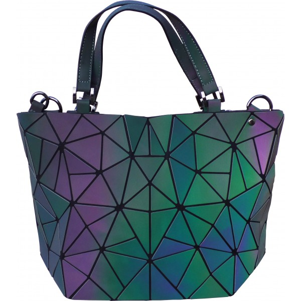 Sac à shopping motifs Diamants à reflets irisés