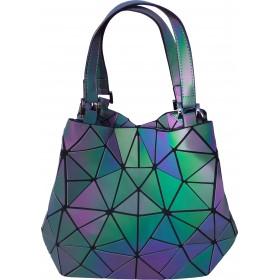 Sac à shopping motifs Diamants à reflets irisés