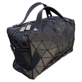 Sac cubic à bandoulière motif diamant noir