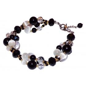 Bracelet Fleuri Noir agates et cristal