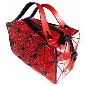 Sac cubic à bandoulière motif fleurs rouges