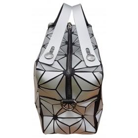 Sac cubic design Origami motif Silver Flower.