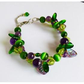 Bracelet fleuri améthystes et oeil de chat vert