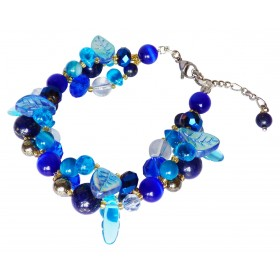 Bracelet Fleuri Lapis Lazuli, cristal, agates et perles de verre