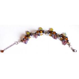 Bracelet fleuri œil de tigre, hématite et perles de verre.