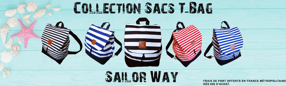 Collection de sacs transformables sur le thème marin.